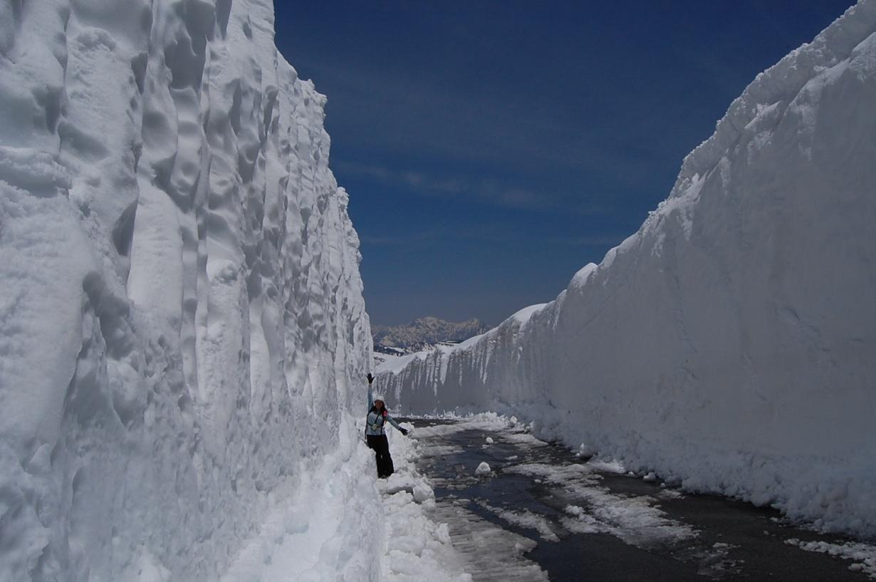 乗鞍岳春山バスで雪壁散歩